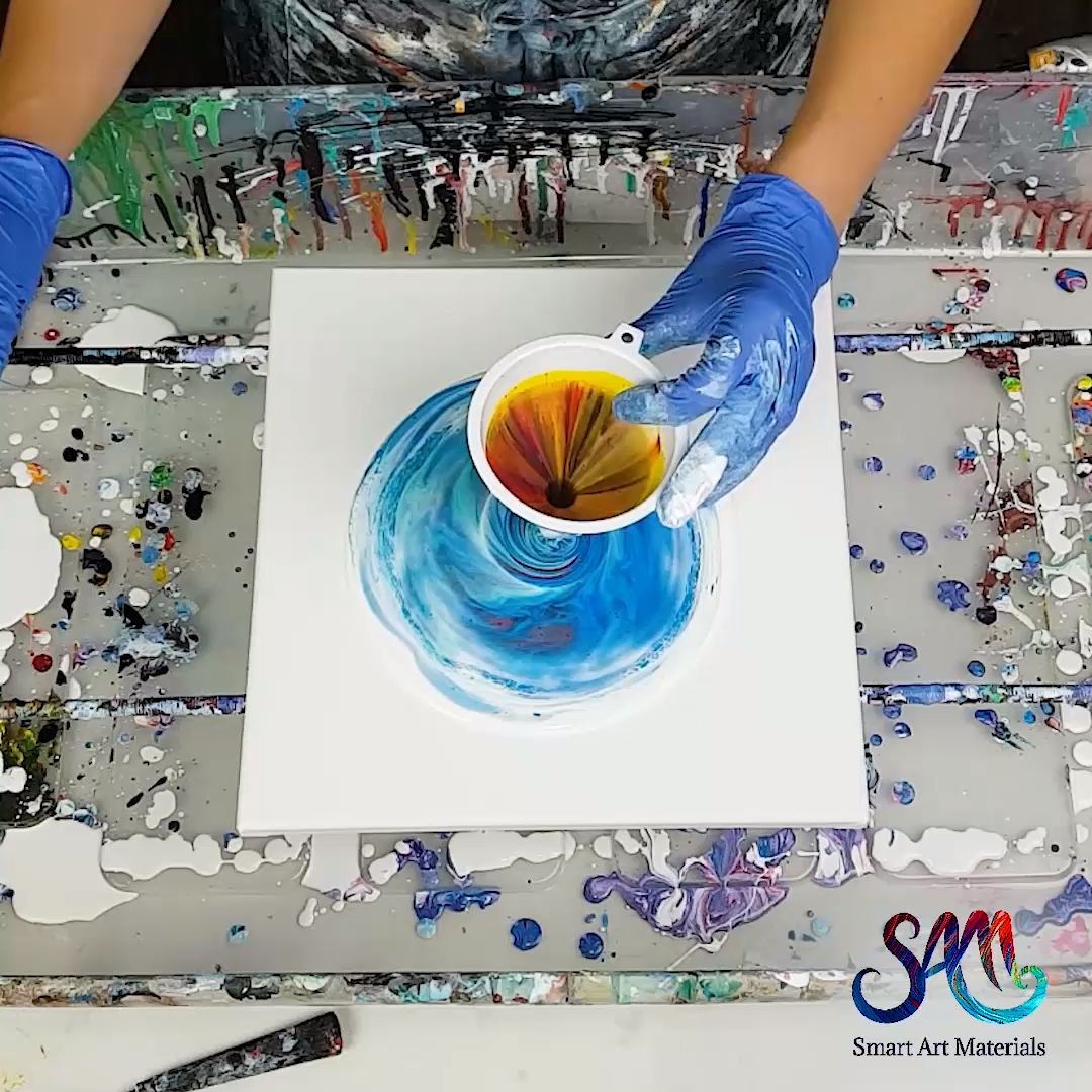 Funnel Acrylic Pour - no silicone!  Check out the link to see more ideas with fluid acrylics and funnel #drawingideas