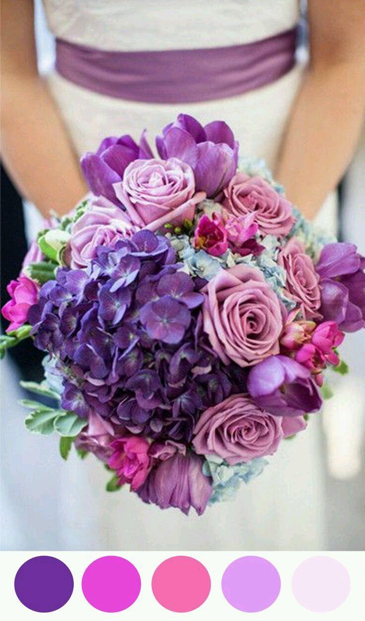 Ramo en Tonalidades Moradas y Rosa | Ramo de novia lila y rosa ...