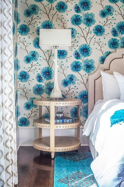 Aqua Blue Girl S Room Features Walls Covered In Harlequin Kabala Lagoon Wallpaper Positioned Behind A Worlds Away Girls Blue Bedroom Girl Room Blue Girls Rooms