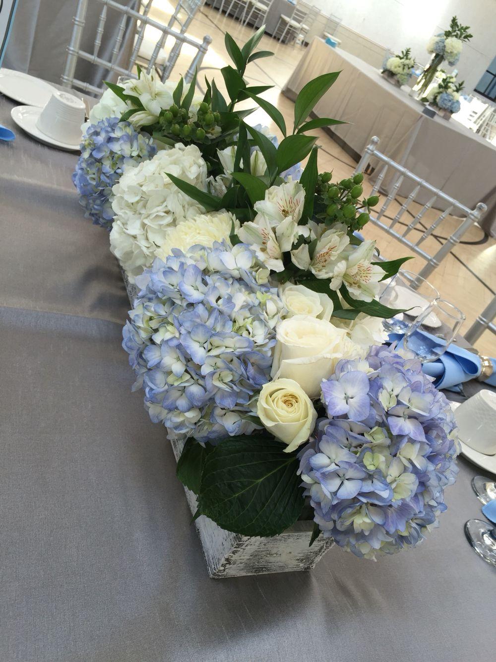 Blue and white centerpiece in 2019 Wedding centerpieces