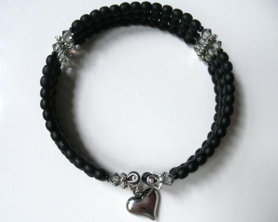 Black Cuff Bracelet with Swarovski Crystals by BeaditudeBoutique