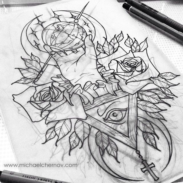 Traditional Tattoo Line Drawing : Tumblr n duenncwy rv s o g ink
