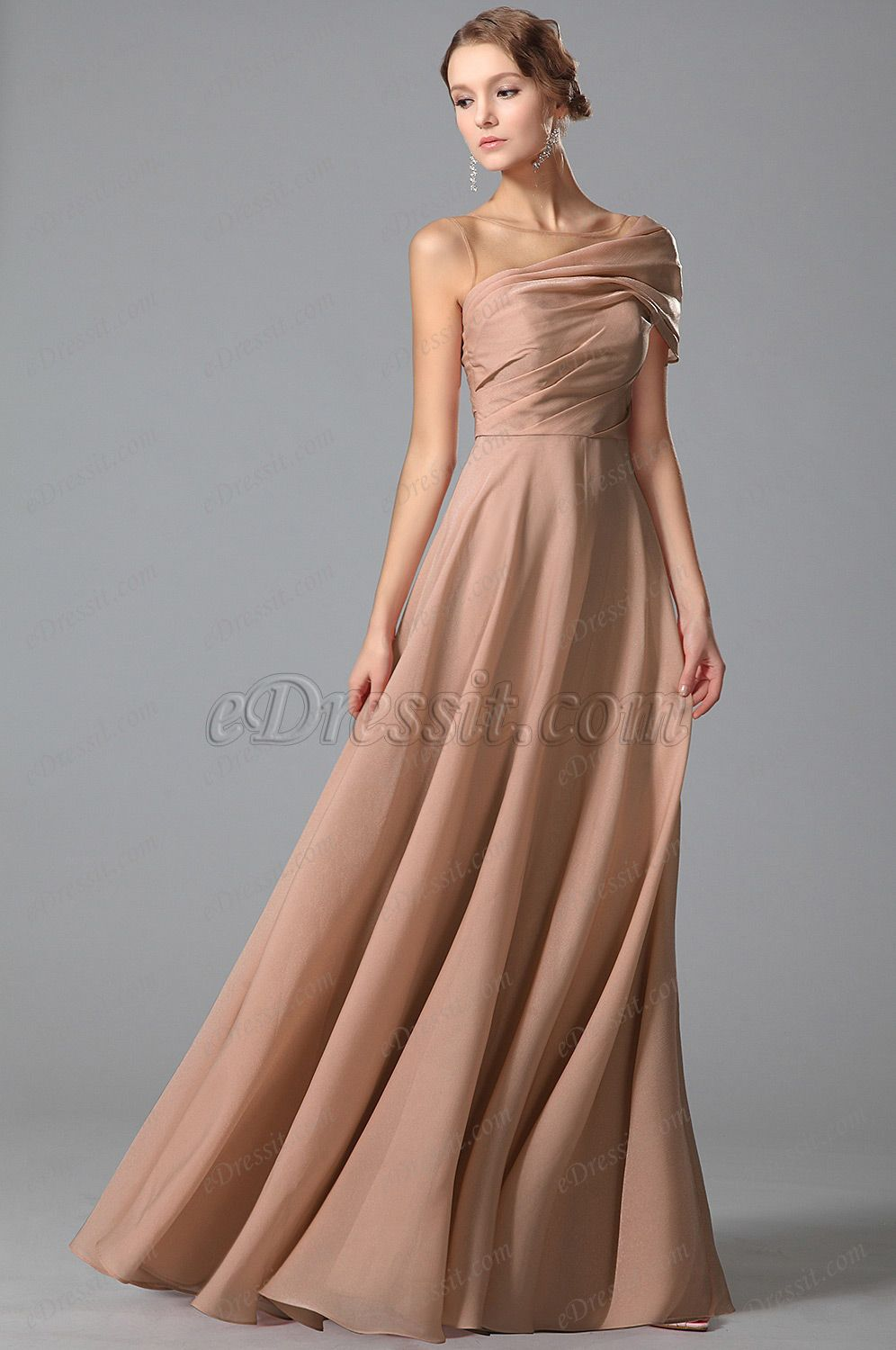 Usd gorgeous floor length evening gown with stylish shoulder