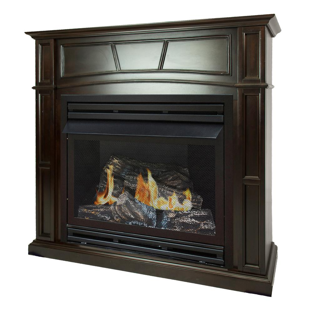 Pleasant Hearth 46 In Full Size Ventless Natural Gas Fireplace In