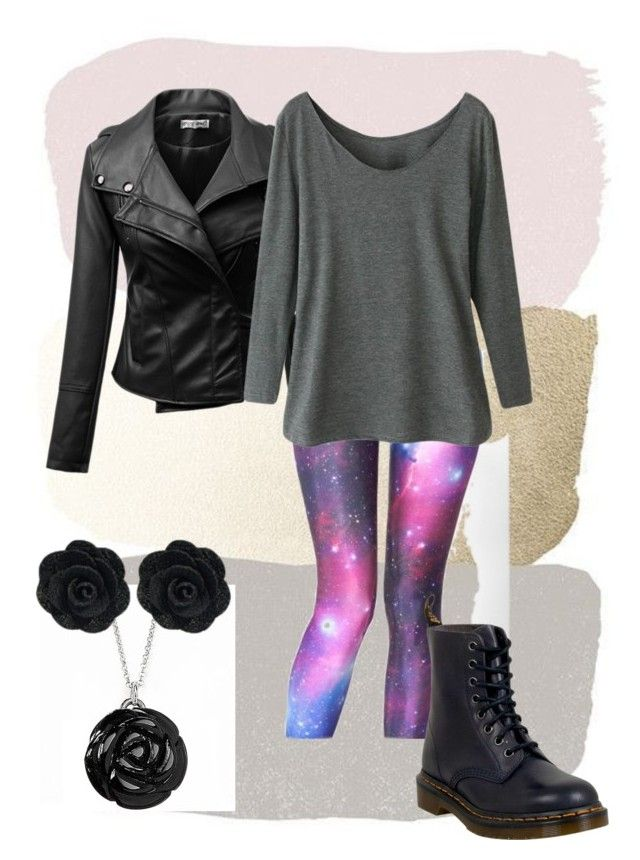 Galaxy Black by oosammyoo on Polyvore featuring Mode, WithChic, Dr. Martens and Jan Leslie