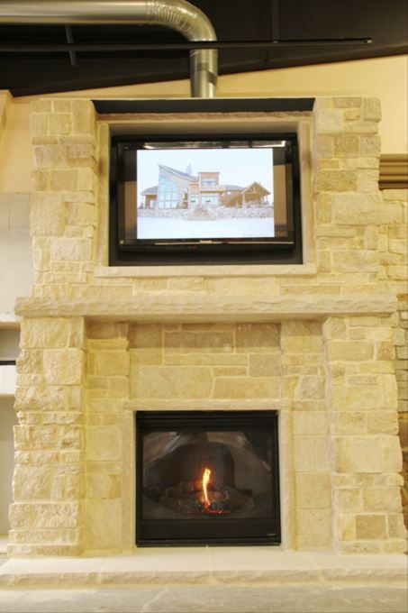 French Limestone Fireplace With Rocked Face Limestone Mantel