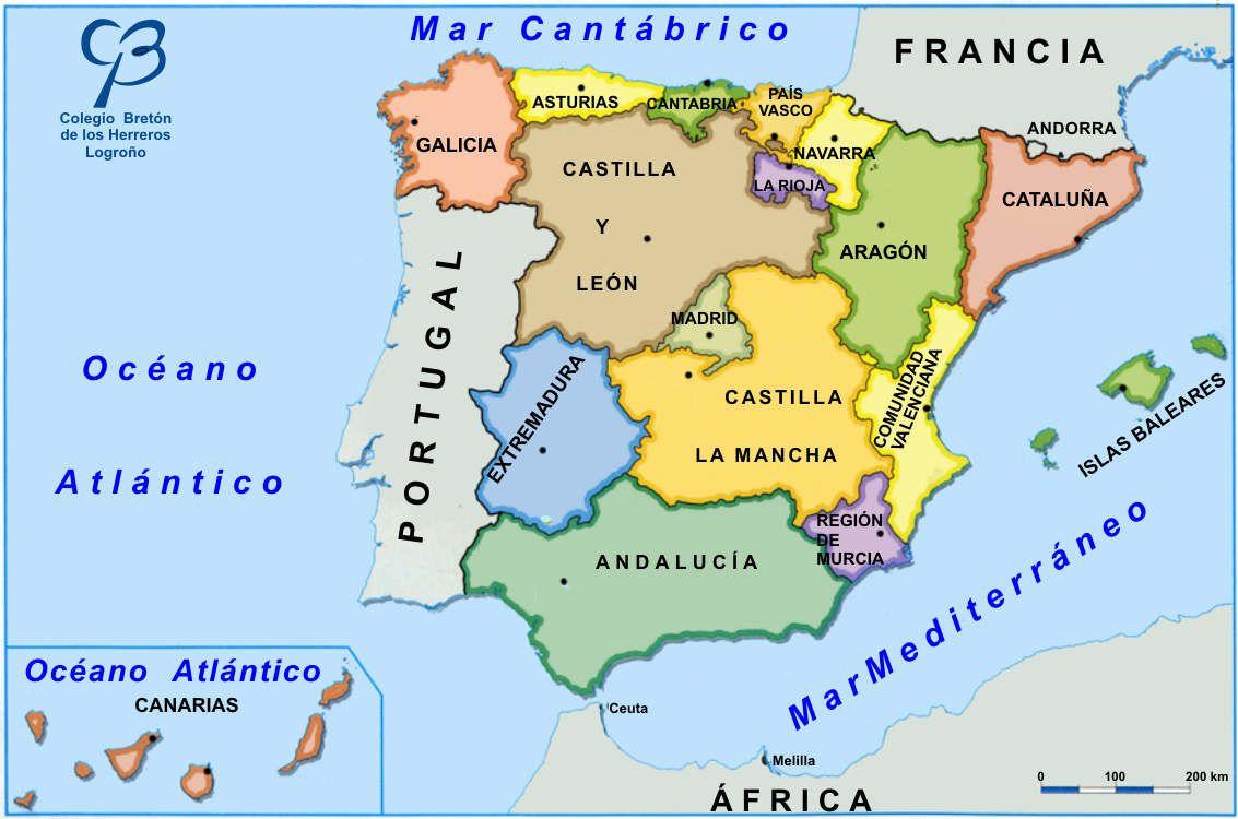 Mapa Politico De España Mudo Vicens Vives.Espana Comprende 17 Comunidades Autonomas 2 Ciudades