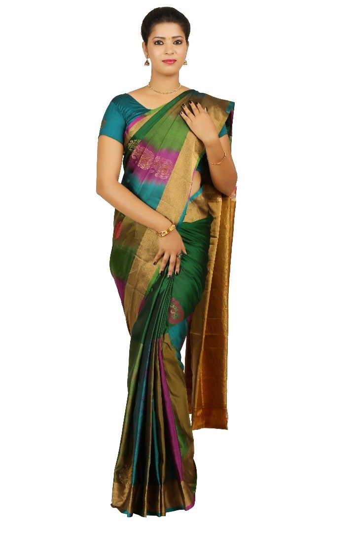 9cf23ca877f 03SS125A4466 - Multi colour soft silk saree