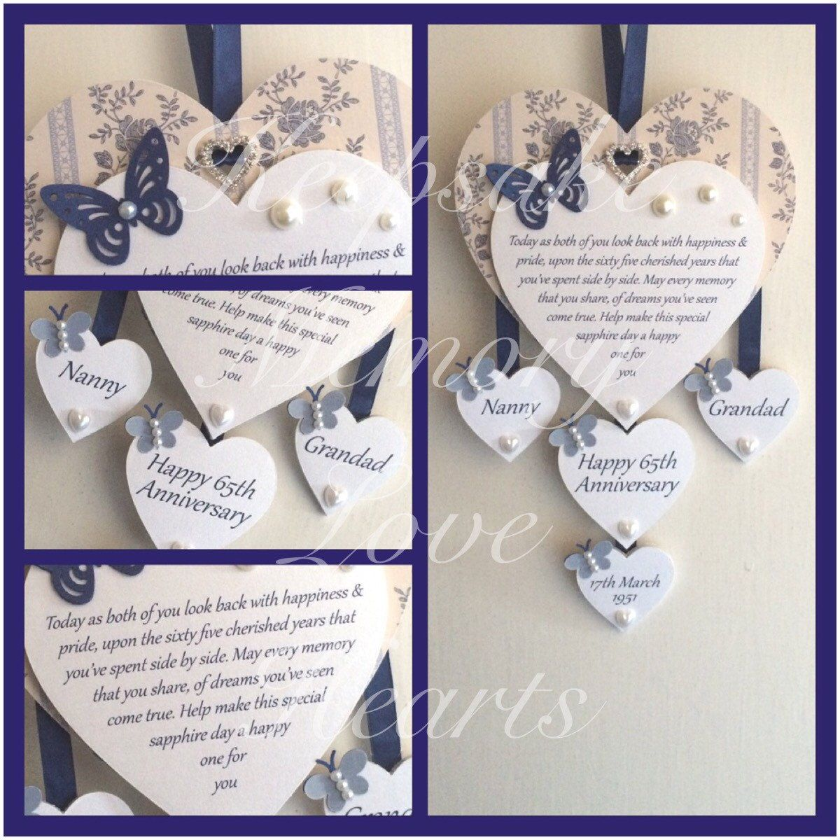 65th Sapphire anniversary gift personalised wooden