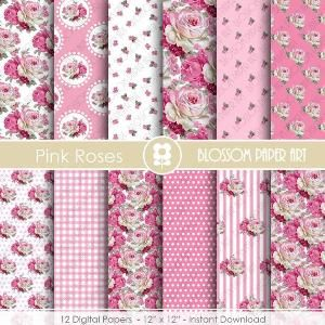 Rose Scrapbook Paper Pack Pink Digital Paper - Floral Scrapbooking, Cottage Papers, Floral Digital Paper, Wedding Papers - 1863 by blossompaperart