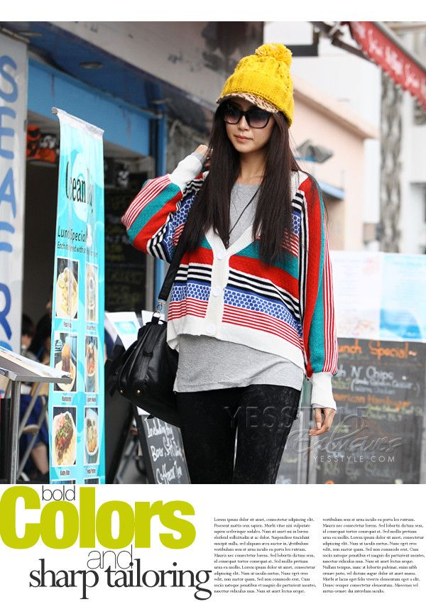 Striped Cardigan with Waist Band