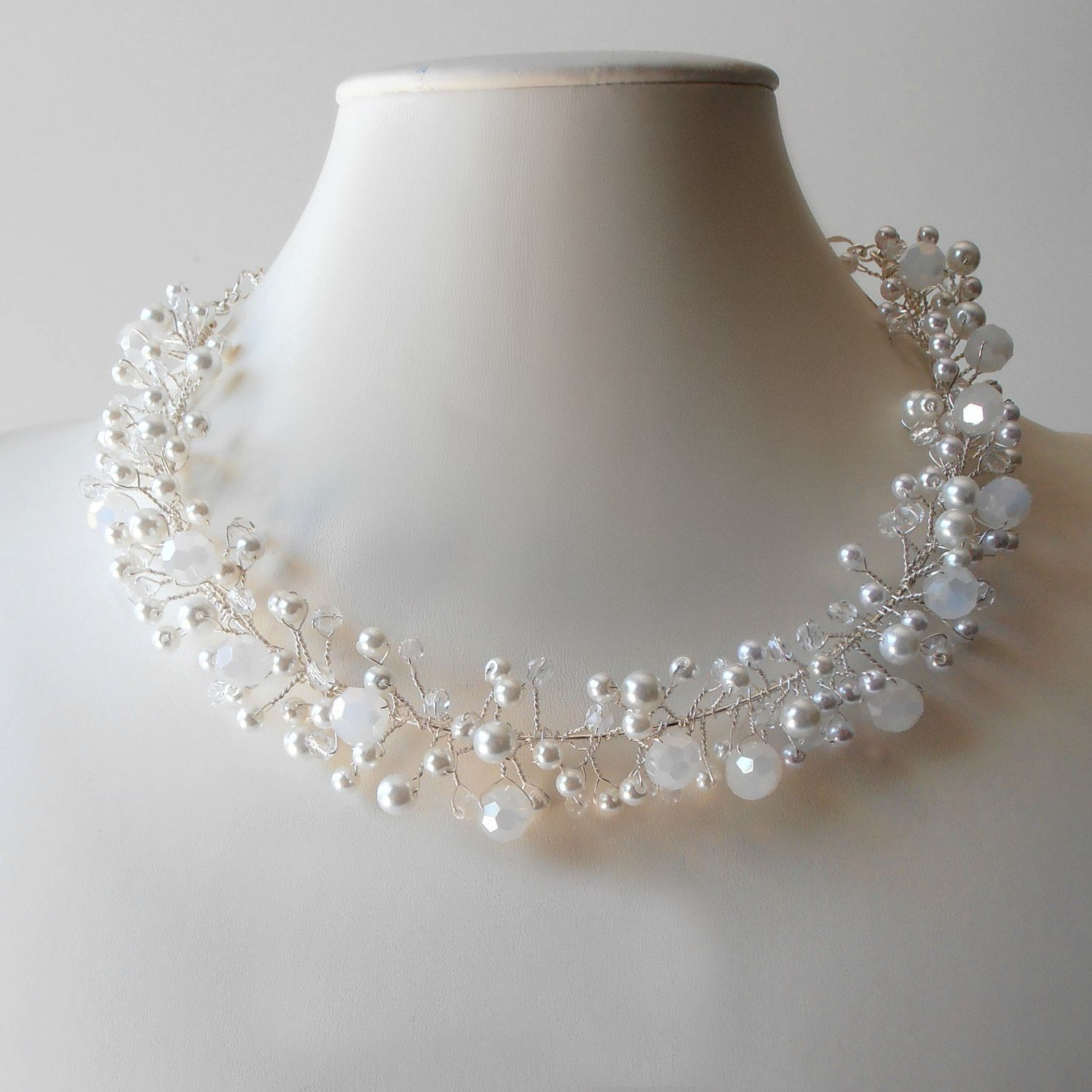Bridal Jewelry Beaded Wire Necklace White and Silver Bridal