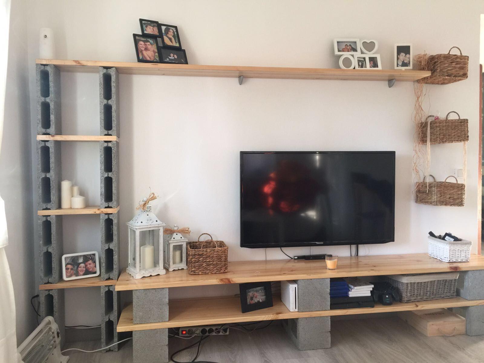mueble con bloques de hormigon ideas con bloques pinterest meubles parpaing et meuble tv. Black Bedroom Furniture Sets. Home Design Ideas