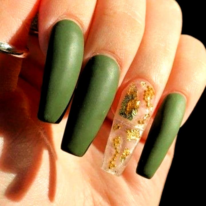 Fall Nails Gold Nails Matte Nails Olive Green Nails Acrylic Nails Nails Acrylic Fall Colors In 2020 Green Acrylic Nails Gold Nails Green Nail Designs