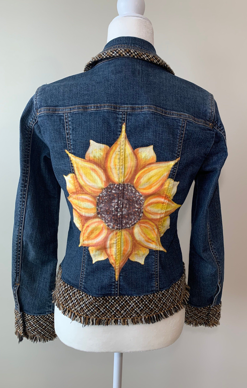 Sunflower Denim Jacket Women S Size 4 Coldwater Creek Hand Painted Denim By Gulflifebynichole On Etsy Painted Denim Denim Jacket Denim Jacket Women [ 3000 x 1912 Pixel ]