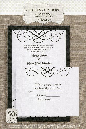 Wilton Black White Calligraphy Invitation Kit 50 Count By Wilton