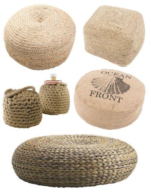 Floor Pillows & Poufs | Poufs, Floor pillows and Rattan