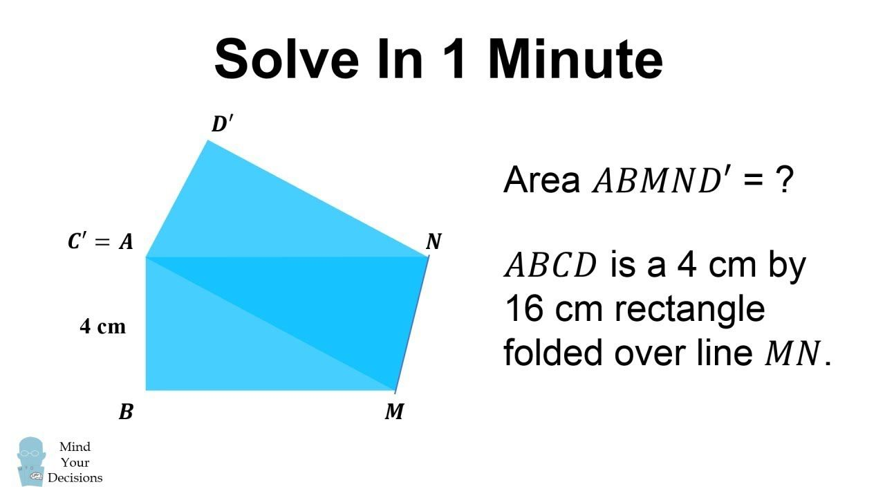 Folded Rectangle Area Puzzle Can You Solve In 1 Minute Math