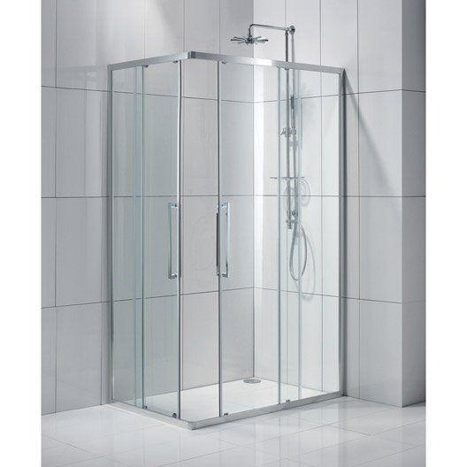 Porte de douche coulissante, angle rectangle, 120 x 80 cm
