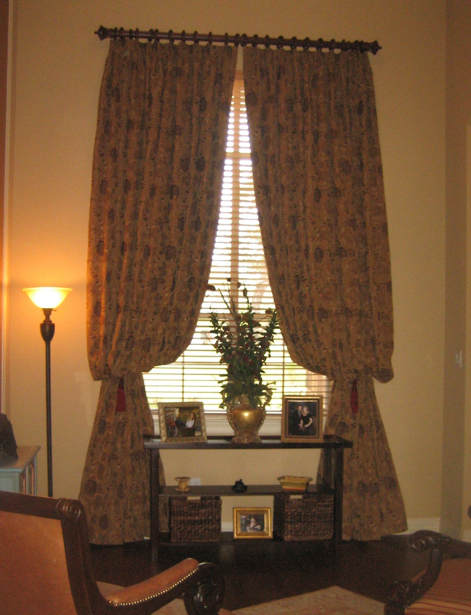 At 12 Feet Tall These Lined Jacquard Custom Drapery Panels Are Fit For A Queen Held Back By Large Tasse With