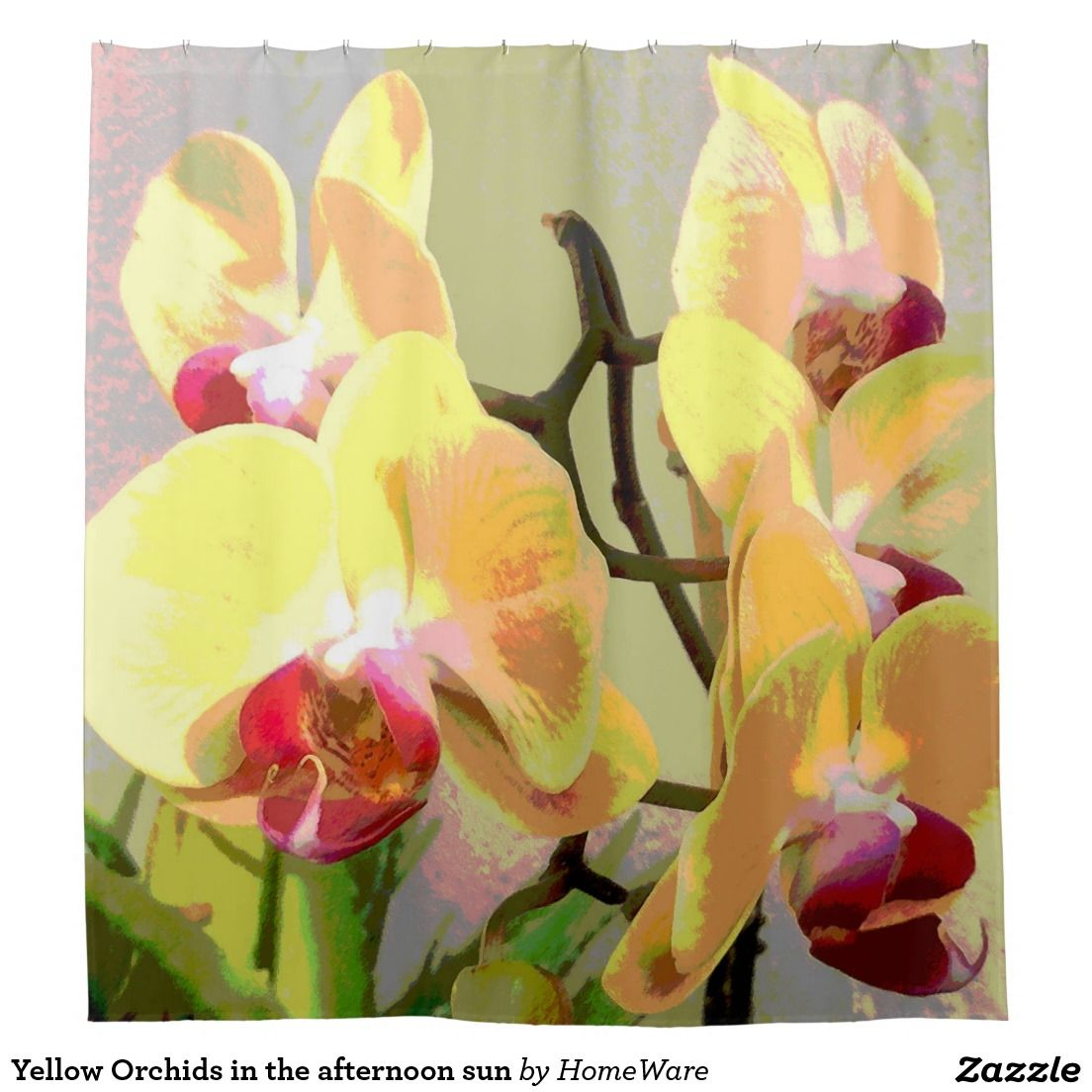 Pink tipped yellow orchid shower curtain shower curtains home