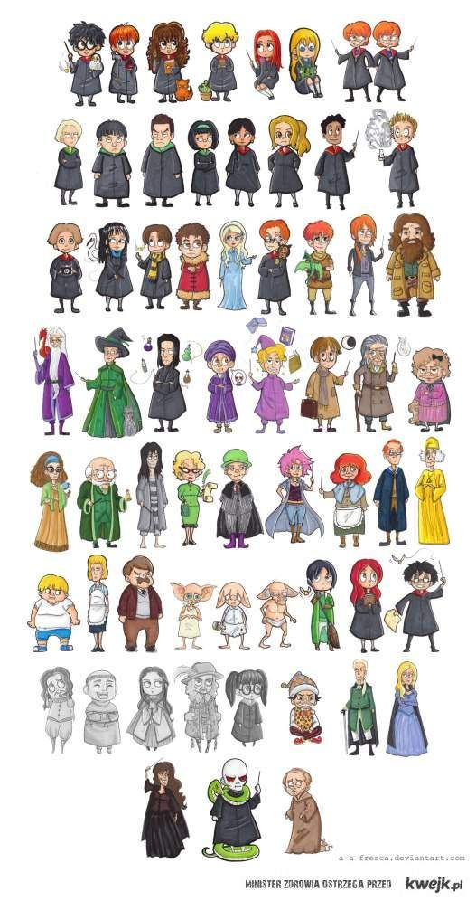 Ensemble De Personnages Harry Potter Arte De Harry Potter