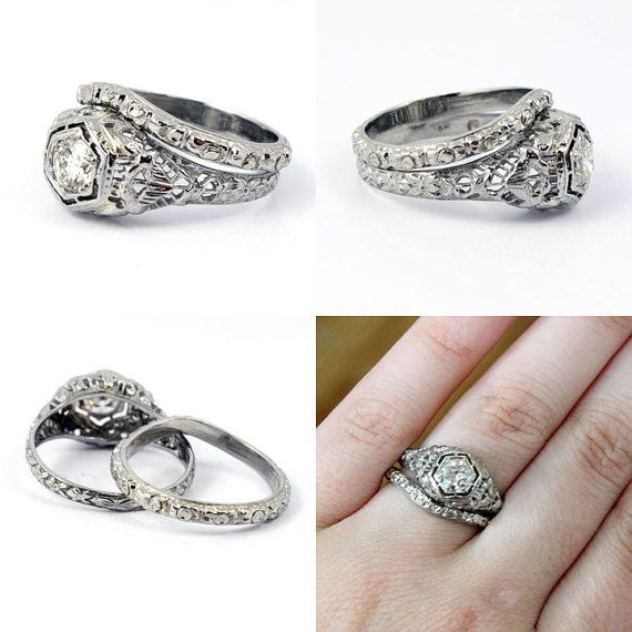 18k Art Deco 1920s Filigree European Cut Antique Diamond Engagement Ring Band Wedding Set