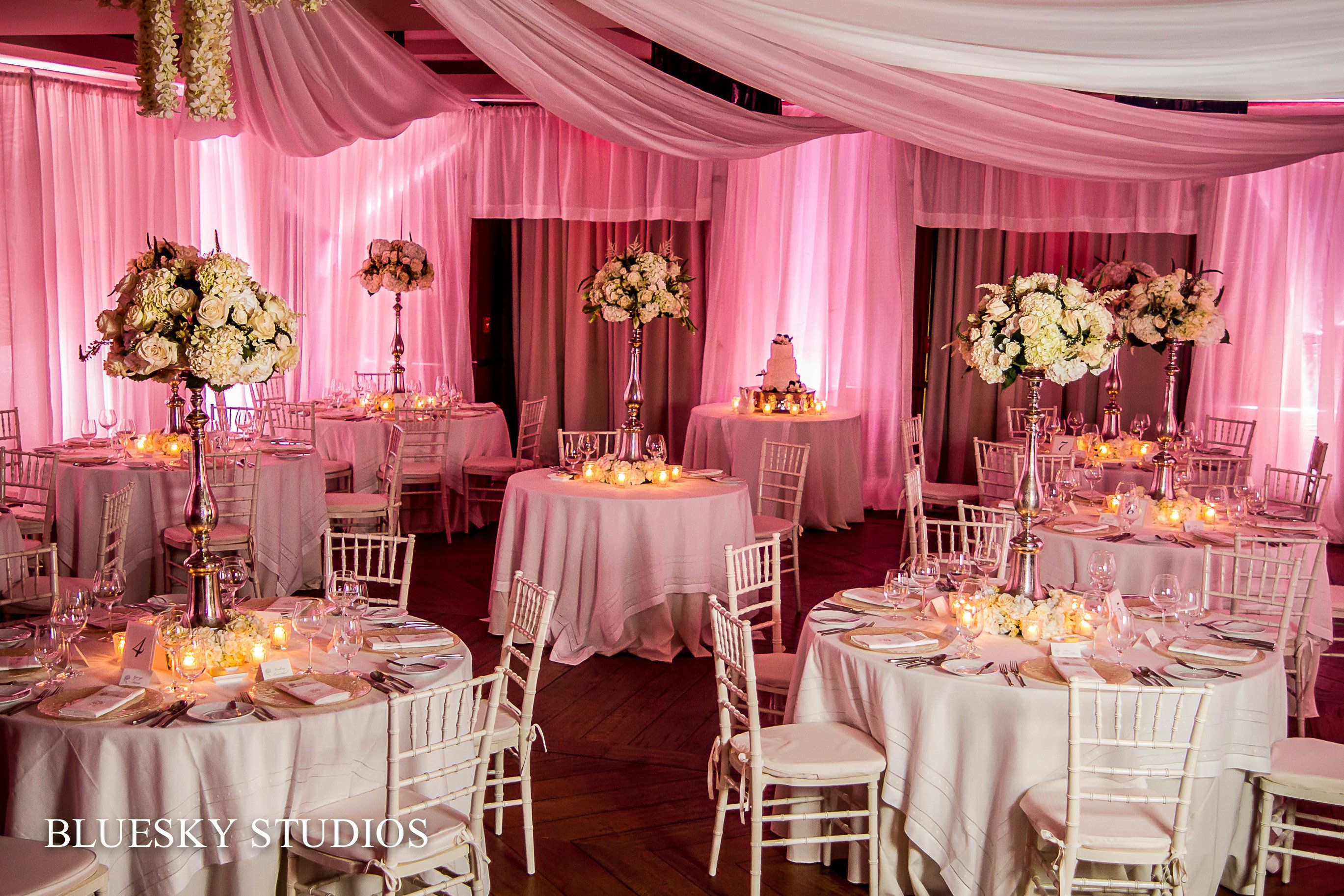 Ballroom draped and back lit and high white centerpieces at Primland ...