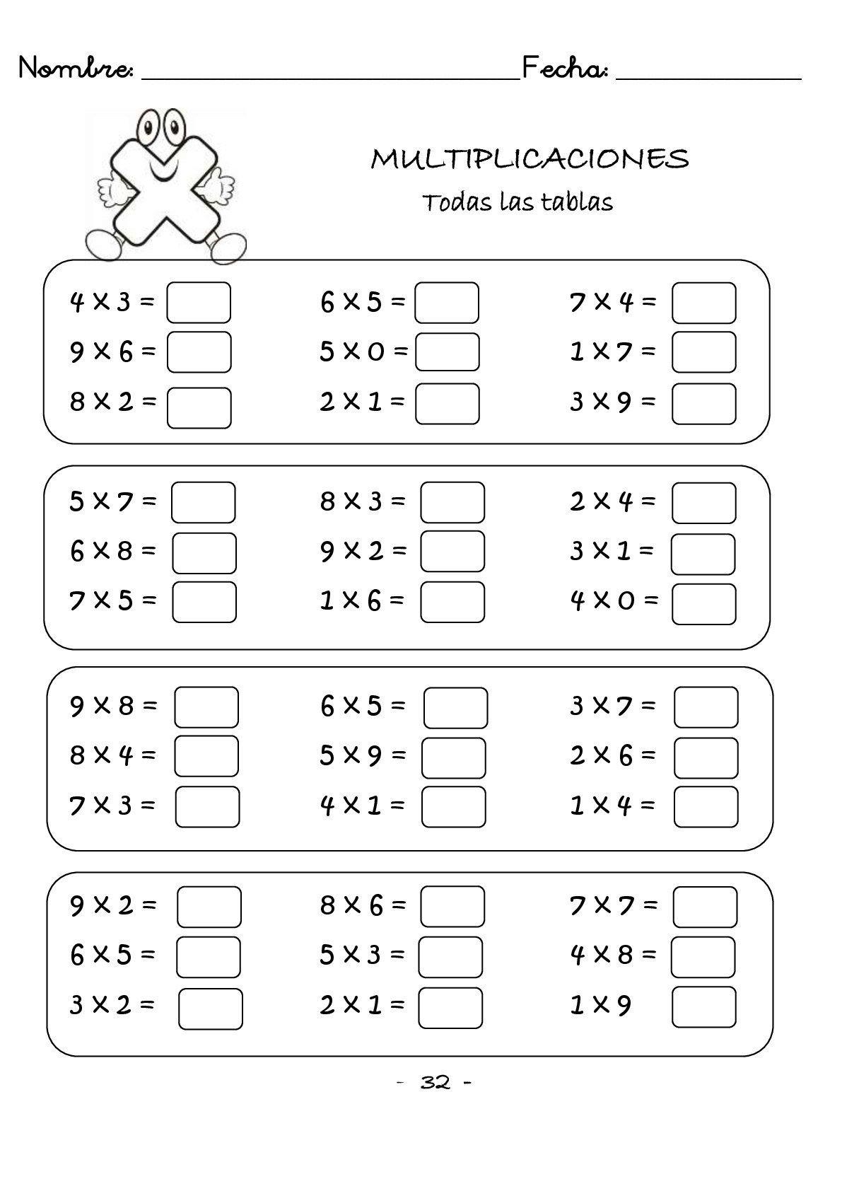 Cuaderno De Multiplicaciones Rapidas Para Primaria