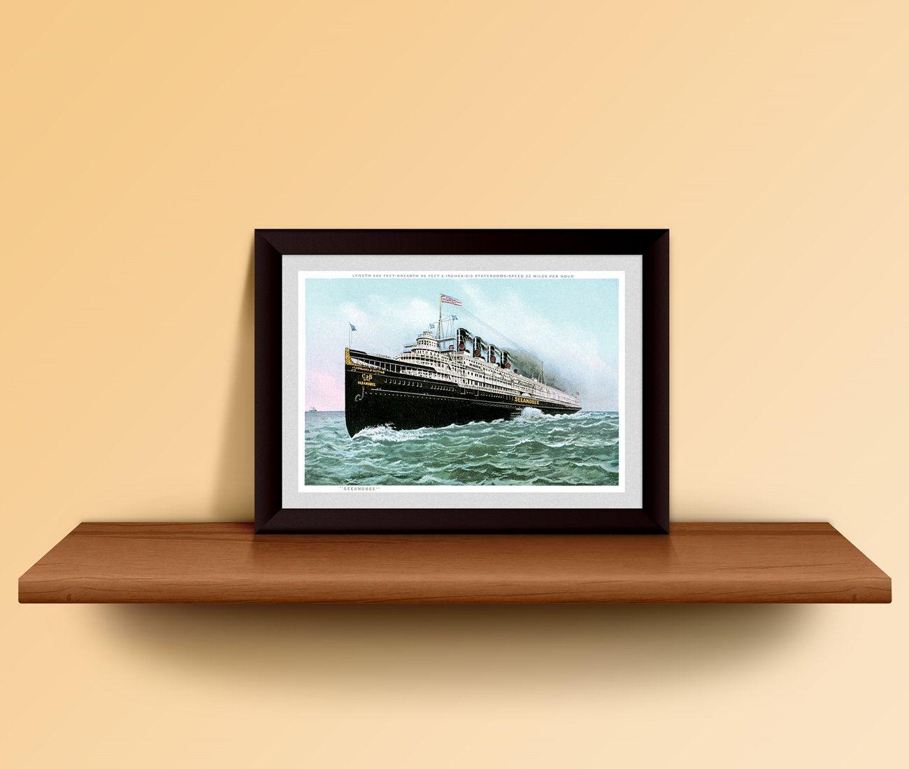 SeeAndBee Ship Poster Vintage Passenger Ship Print Steam Ship Line ...