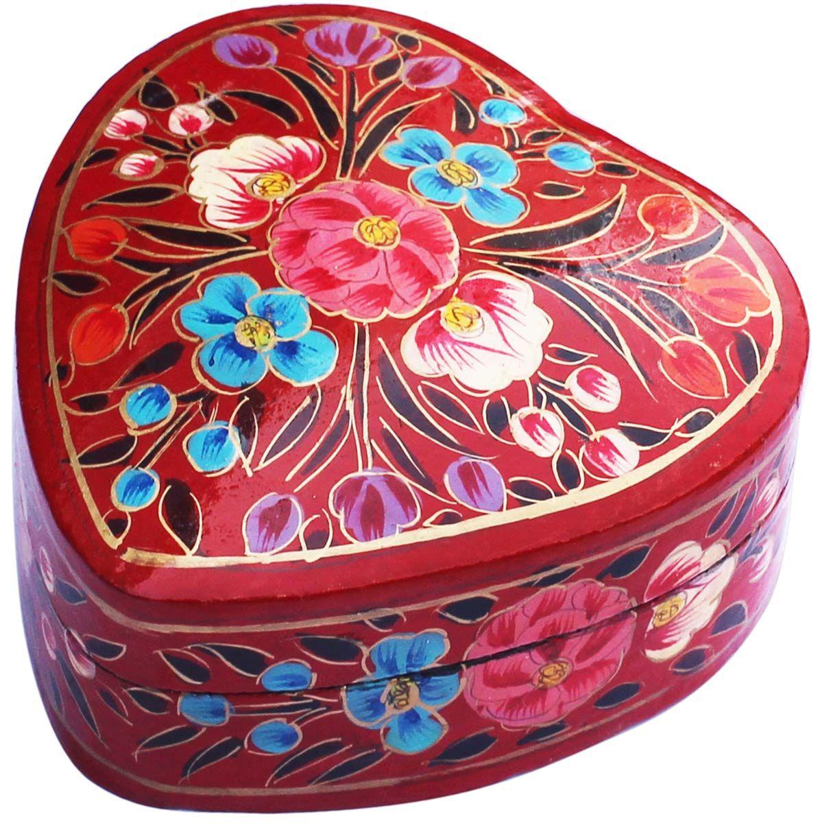 Flowery treasures handmade heartshaped 4 papier mache
