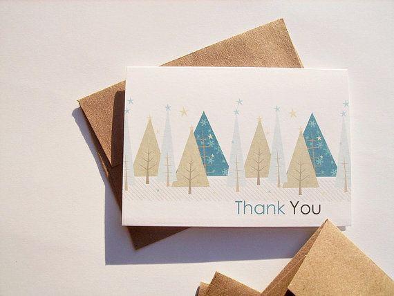 Seasonal Trees Notes >> Winter Thank You Notes Seasonal Christmas Trees By Twin2kim Thank