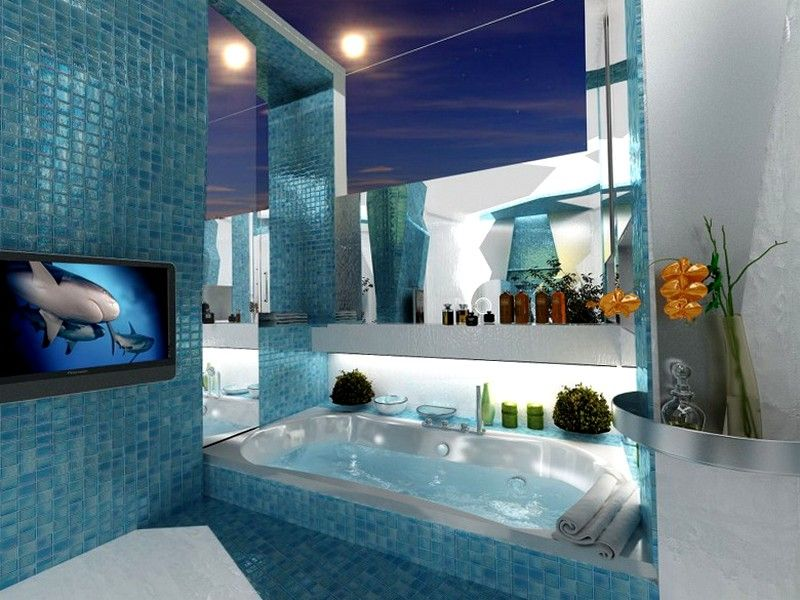 Attrayant Beautiful Blue Color Idea For Relaxing Bathroom