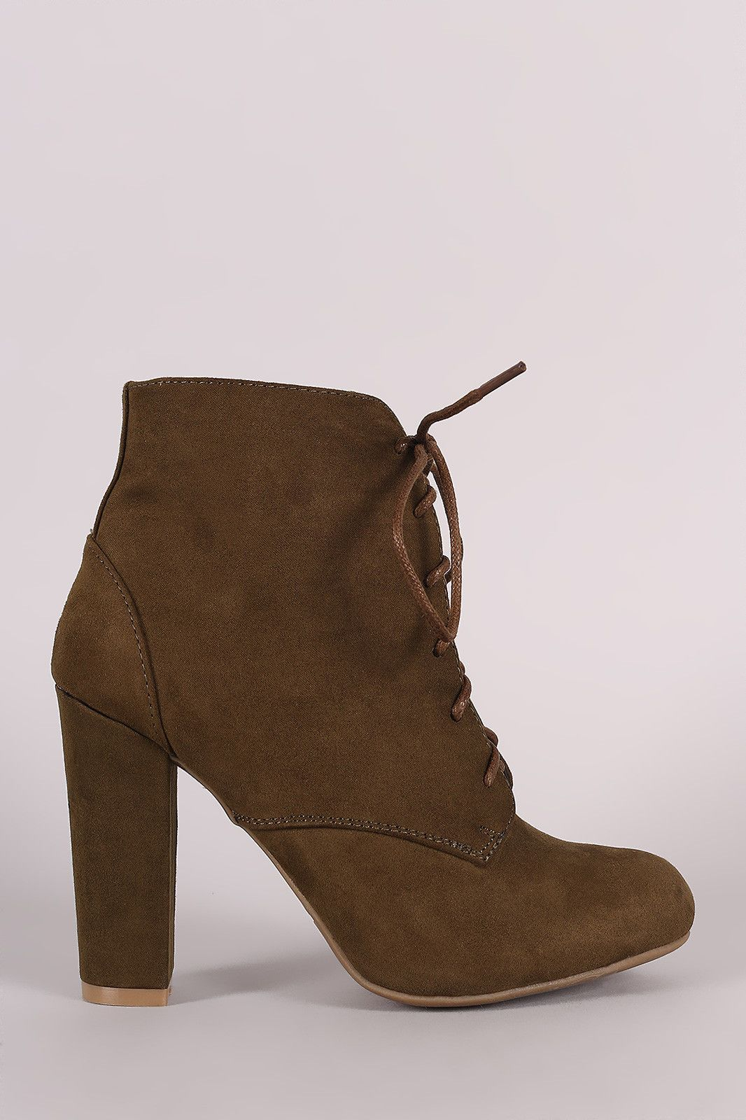 cf134d405d7 Bamboo Lace Up Fur Lined Chunky Heel Ankle Bootie