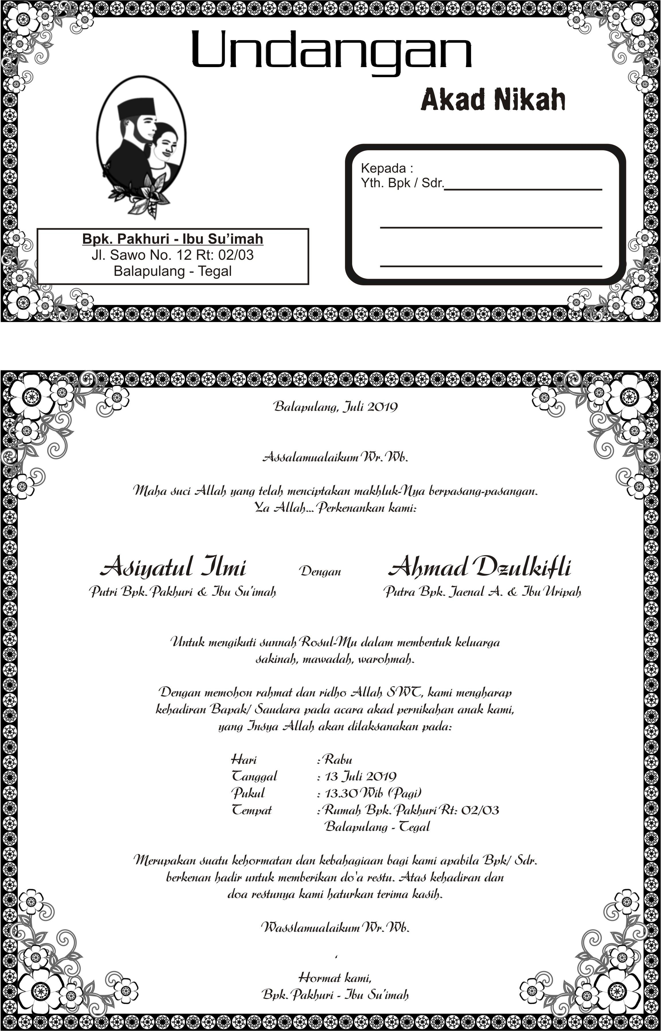 Undangan Aqiqah Dan Khitanan : undangan, aqiqah, khitanan, Undangan, Nikah, Asiyatul, Undangan,, Desain, Pernikahan