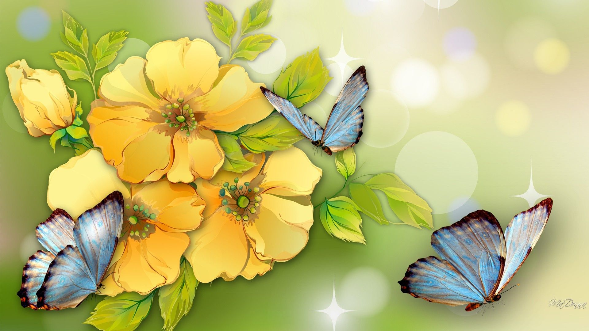 Watercolor Tag Yellow Flowers Blue Butterflies Watercolor Summer