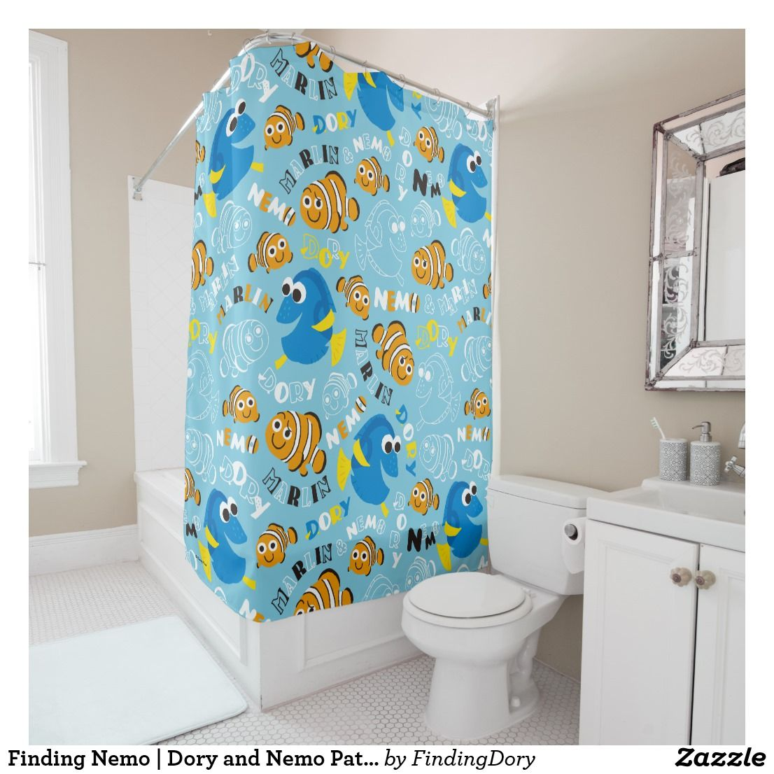 Finding Nemo Dory And Nemo Pattern Shower Curtain Patterned Shower Curtain Curtains Shower Curtain