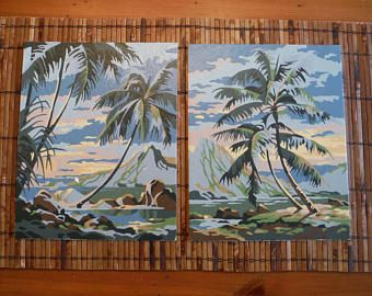 Vintage Tropical Beach Pair Of Paint By Number Paintings Vintage