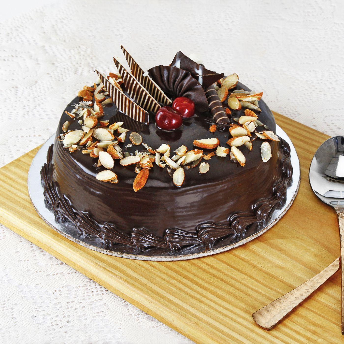 Order Chocolate Almond Cake Half Kg Online at Best Price