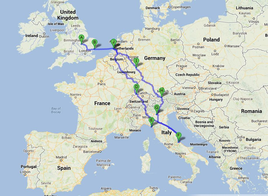 The route UK Holland Belgium Luxembourg France Germany