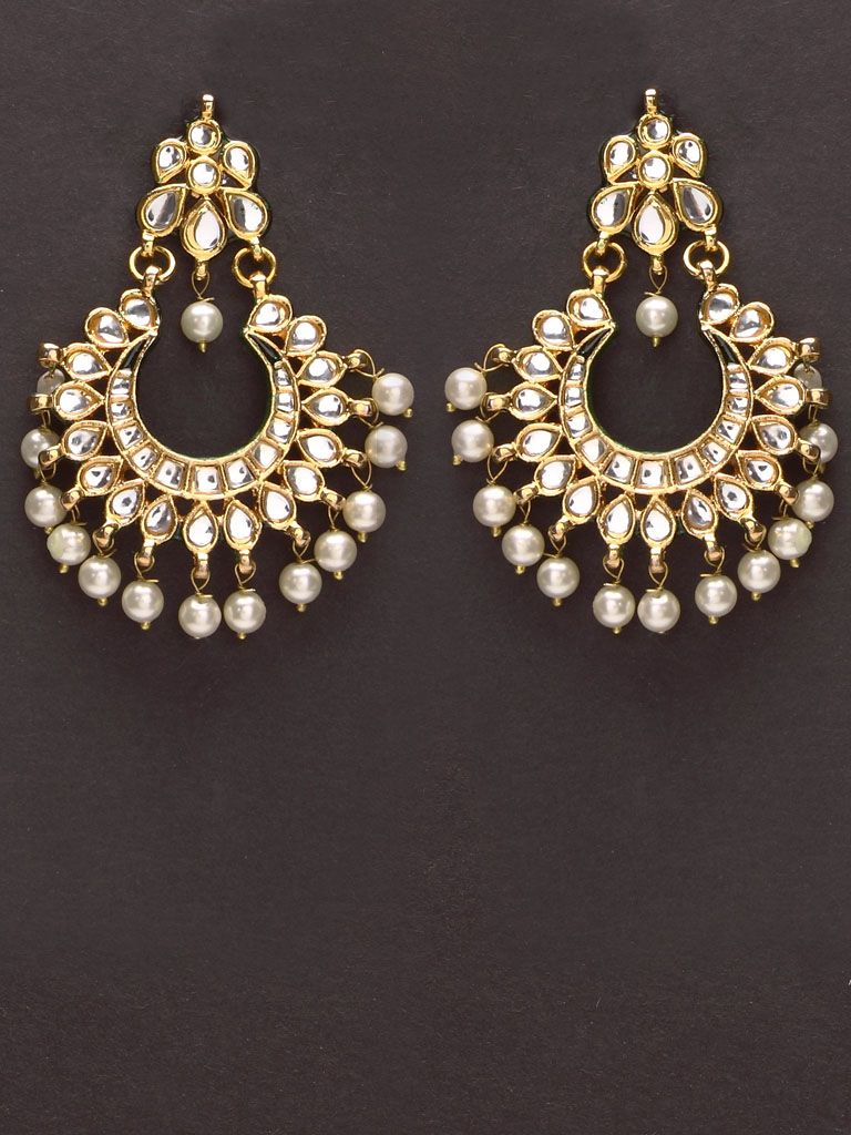 59c147b148 Pretty golden Indian kundan earrings with pearl drops. | Traditional ...