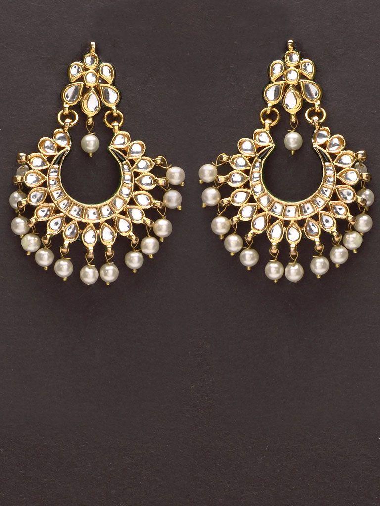 Ethnic Goldtone Drop Dangle Kundan Stone Earrings Bollywood Women Jewellery With Traditional Methods Bridal & Wedding Party Jewelry