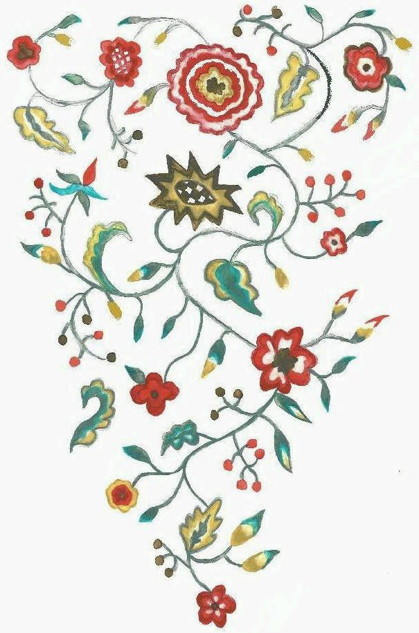 Embroidery Patterns For Hand Embroidery | Petitie Flowers 18th Century Stomacher Kit Crewl On ...
