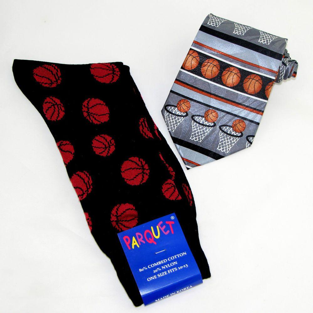 Basketball mens socks necktie gift set novelty sports