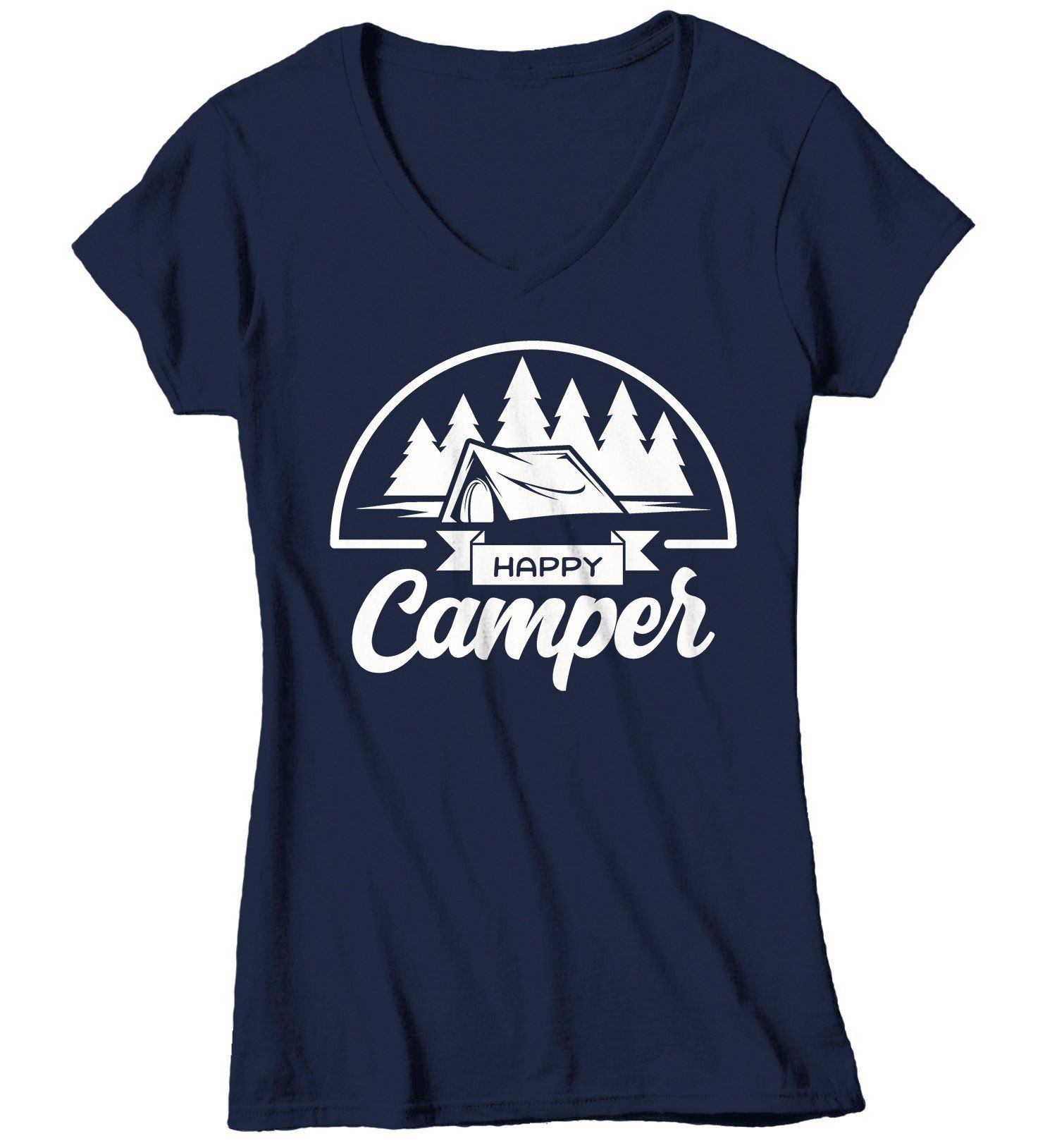 Women's Happy Camper T Shirt Tent Shirts Camping Tee Nature Tshirt Wanderlust Clothing – Products