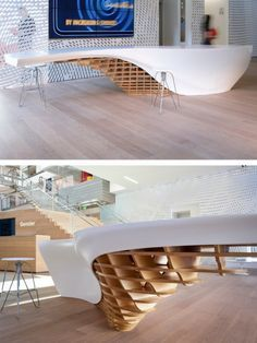 SLO_GEN table by HI-MACS®: Reception Designs, Receptions Desks Design, Reception Functional Designs, Parametric Design, Cnc Furniture, Cnc Interiors Design, Reception Desks, Hi Mac, Himac