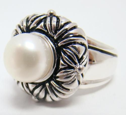 HONORA-925-STERLING-SILVER-RING-LARGE-10mm-WHITE-PEARL-SOLITAIRE-12-4g-SIZE-9
