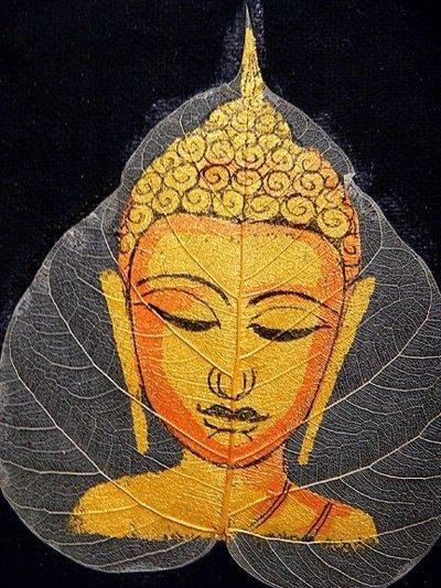 Buddha painted on a Bodhi leaf