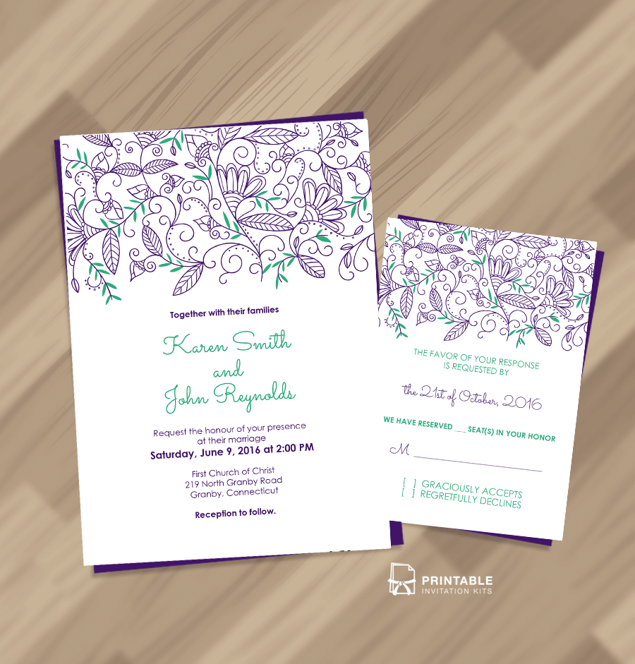 Free PDF Download - Nature Border Modern Wedding Invitation and RSVP ...