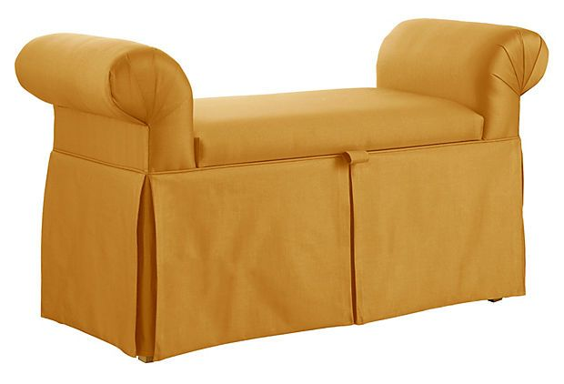 Color: Mara Roll Arm Storage Bench, Gold On OneKingsLane.com